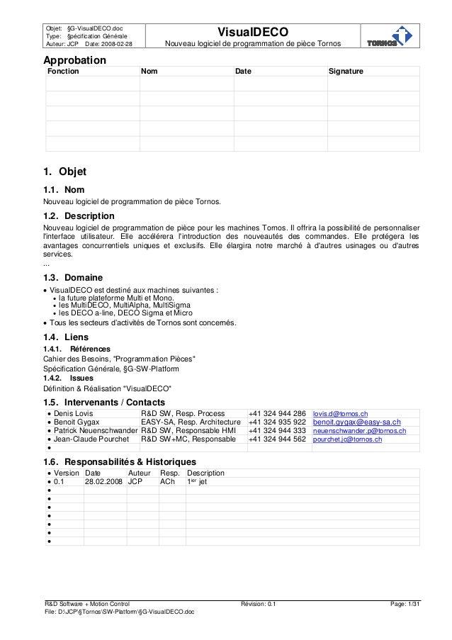 Objet: §G-VisualDECO.doc Type: §pécification Générale Auteur: JCP Date: 2008-02-28 VisualDECO Nouveau logiciel de programm...