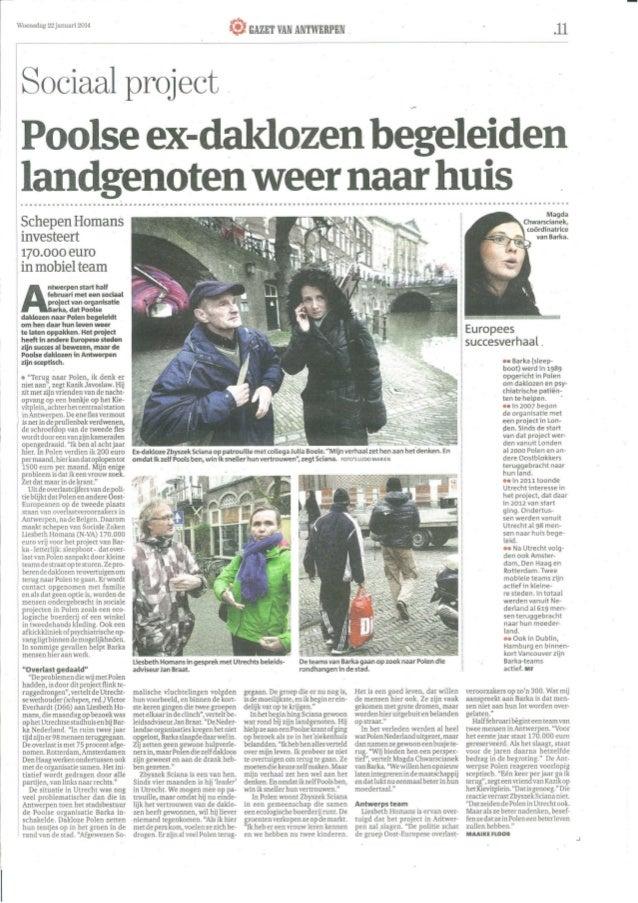 Gazet van Antwerpen: Byli polscy bezdomni towarzysza rodakom powrocie do domu