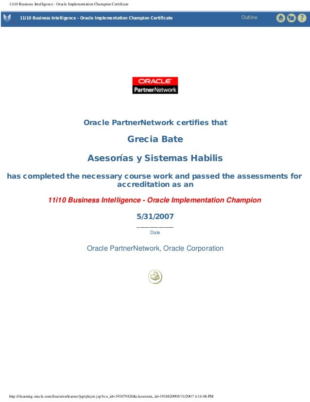 11i10 Business Intelligence - Oracle Implementation Champion