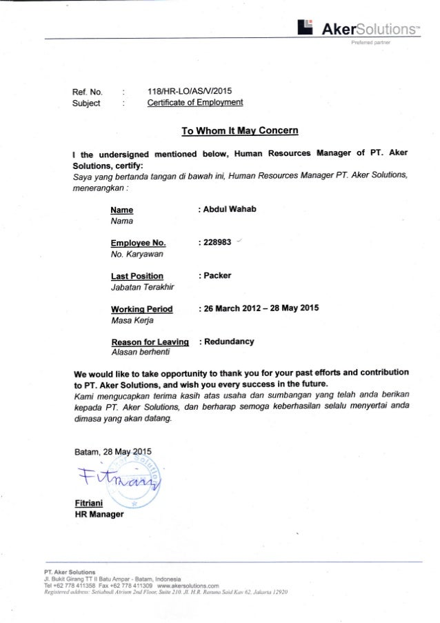 certificate of employment pt  aker solutions