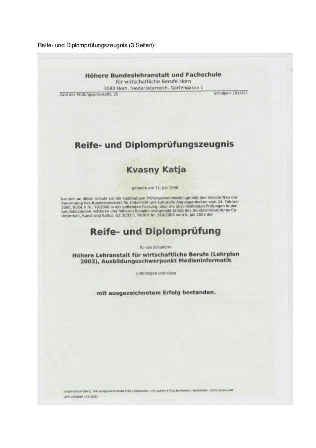 Reife- und Diplomprüfungszeugnis (3 Seiten):