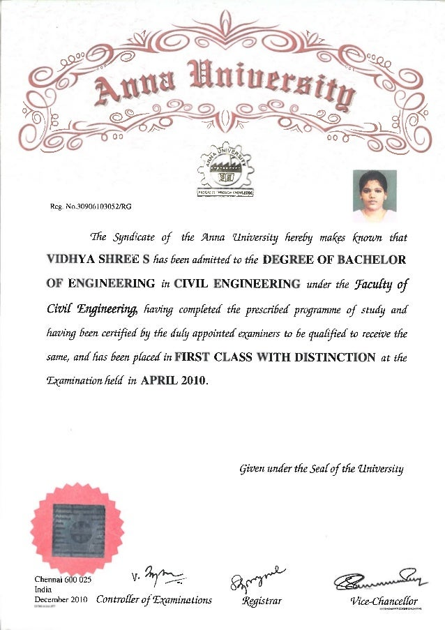 Sample degree certificate of anna university image collections sample degree certificate of anna university images certificate sample degree certificate of anna university images certificate yadclub Images
