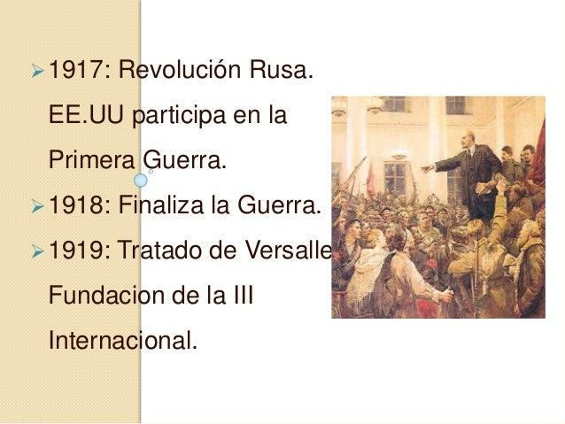 1917: Revolución Rusa. EE.UU participa en la Primera Guerra. 1918: Finaliza la Guerra. 1919: Tratado de Versalles. Fund...
