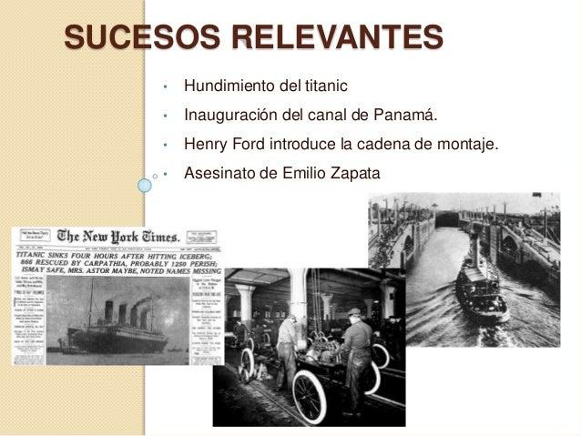 SUCESOS RELEVANTES • Hundimiento del titanic • Inauguración del canal de Panamá. • Henry Ford introduce la cadena de monta...