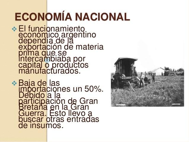ECONOMÍA NACIONAL  El funcionamiento económico argentino dependía de la exportación de materia prima que se intercambiaba...
