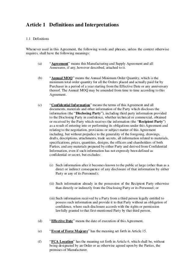 Doc.#460595: Sample Supply Agreement – Supply Agreement Template ...