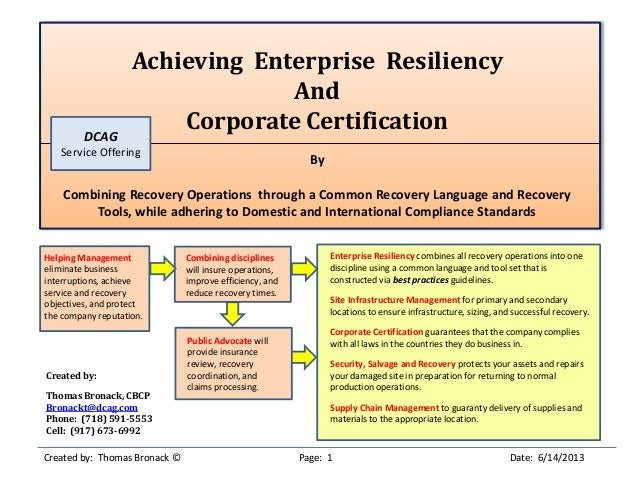 Achieving Enterprise ResiliencyAndCorporate CertificationByCombining Recovery Operations through a Common Recovery Languag...