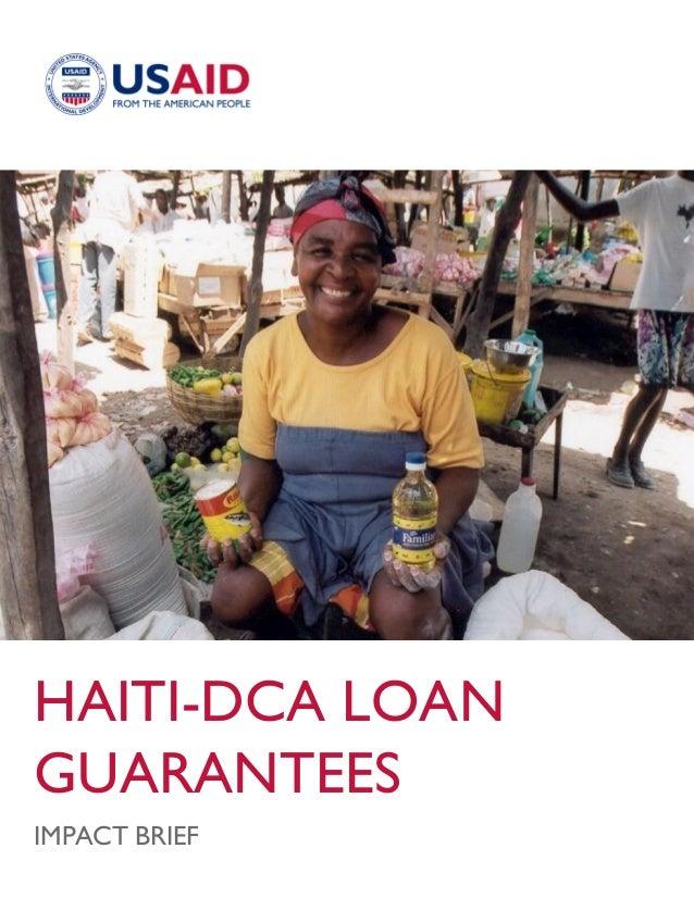 HAITI-DCA LOAN GUARANTEES IMPACT BRIEF