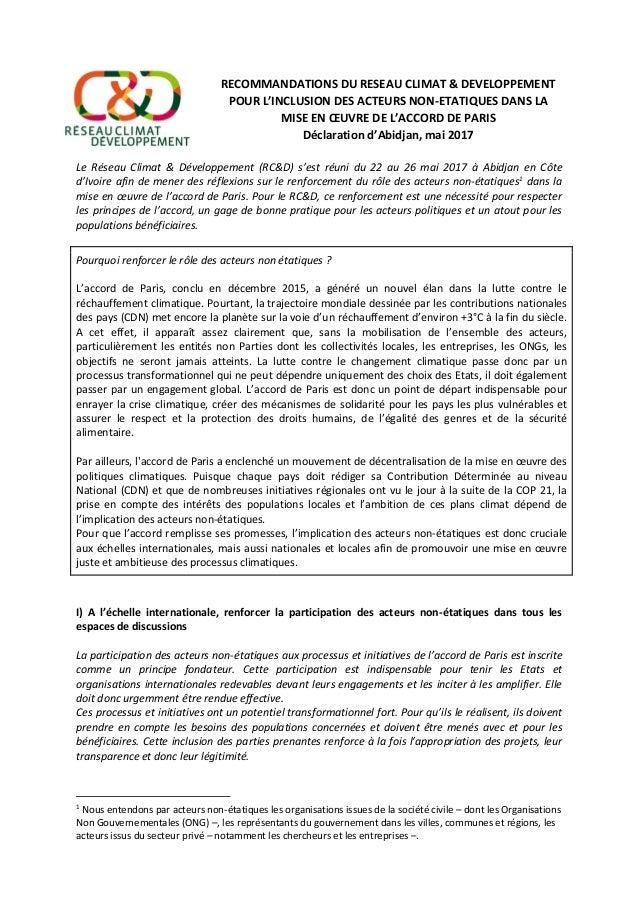 RECOMMANDATIONS DU RESEAU CLIMAT & DEVELOPPEMENT POUR L'INCLUSION DES ACTEURS NON-ETATIQUES DANS LA MISE EN ŒUVRE DE L'ACC...