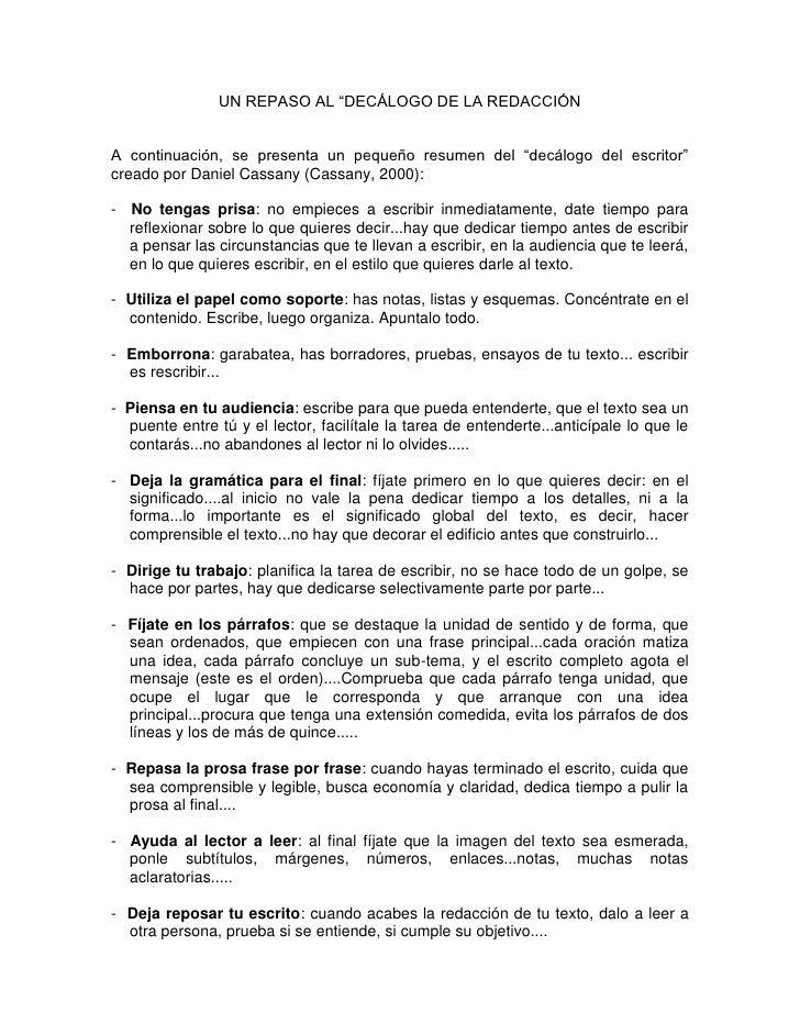 """UN REPASO AL """"DECÁLOGO DE LA REDACCIÓN   A continuación, se presenta un pequeño resumen del """"decálogo del escritor"""" creado..."""