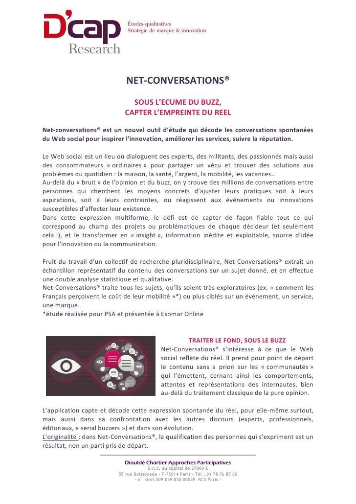 NET-CONVERSATIONS®                              SOUS L'ECUME DU BUZZ,                            CAPTER L'EMPREINTE DU REE...