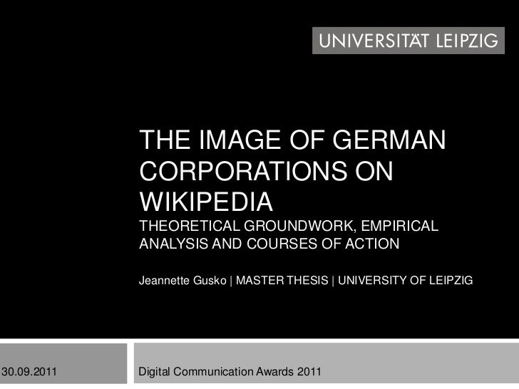 THE IMAGE OF GERMAN             CORPORATIONS ON             WIKIPEDIA             THEORETICAL GROUNDWORK, EMPIRICAL       ...