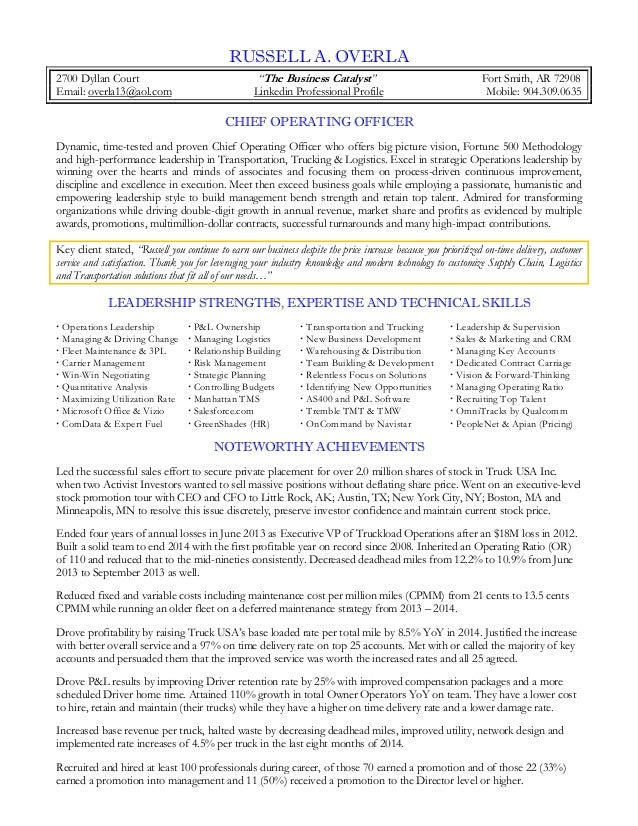Overla Russell COO Resume 2015