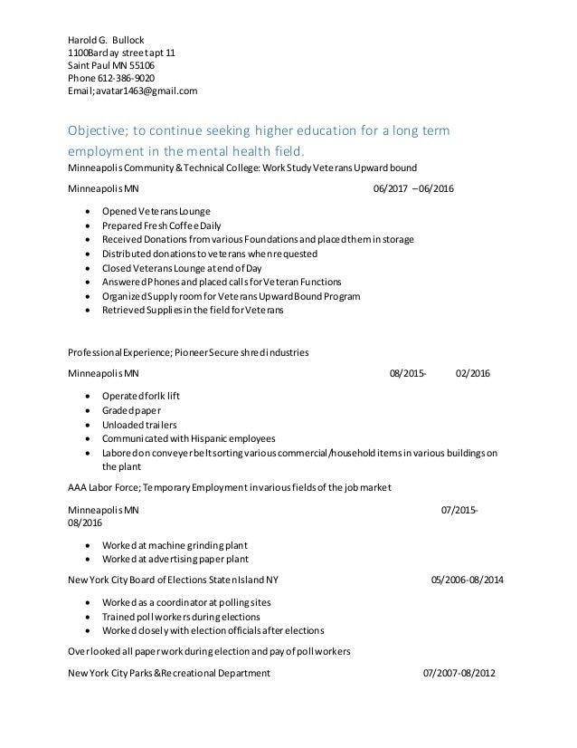 resume harold