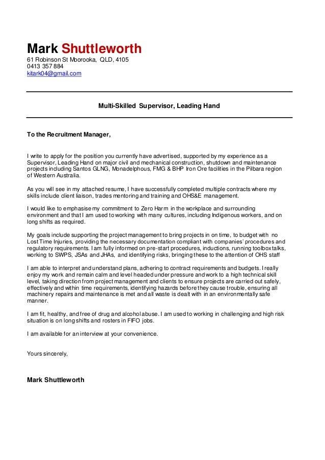 cover letter mark shuttleworth