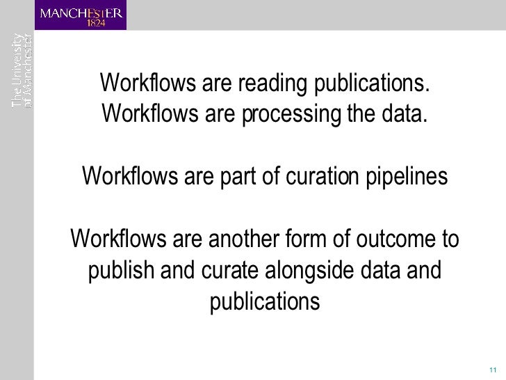 Workflows are reading publications. Workflows are processing the data. Workflows are part of curation pipelines Workflows ...