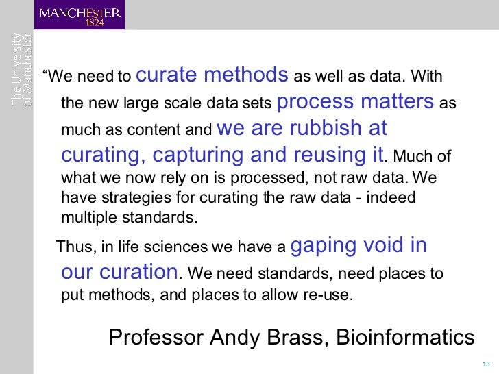 """<ul><li>"""" We need to  curate methods  as well as data. With the new large scale data sets  process matters  as much as con..."""