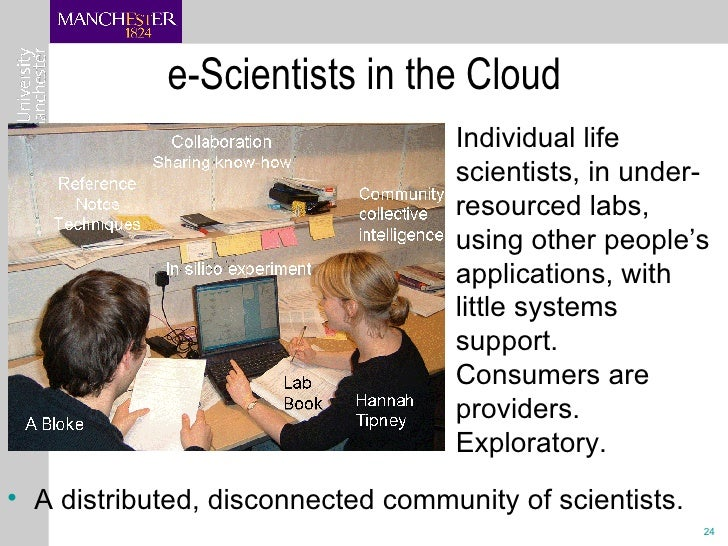e-Scientists in the Cloud  <ul><li>Individual life scientists, in under-resourced labs, using other people's applications,...