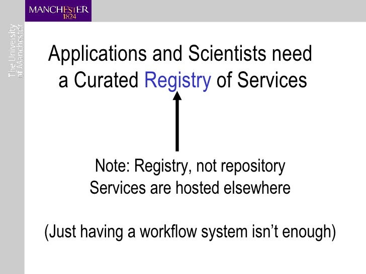 Applications and Scientists need  a Curated  Registry  of Services Note: Registry, not repository Services are hosted else...