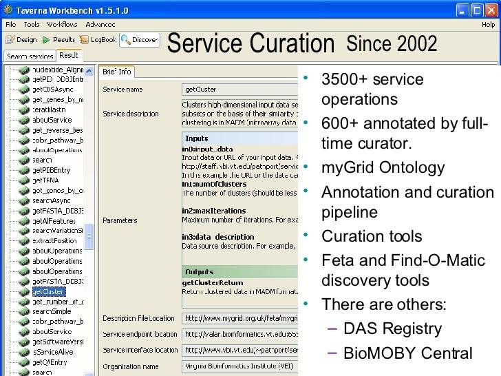 Service Curation  <ul><li>3500+ service operations </li></ul><ul><li>600+ annotated by full-time curator. </li></ul><ul><l...