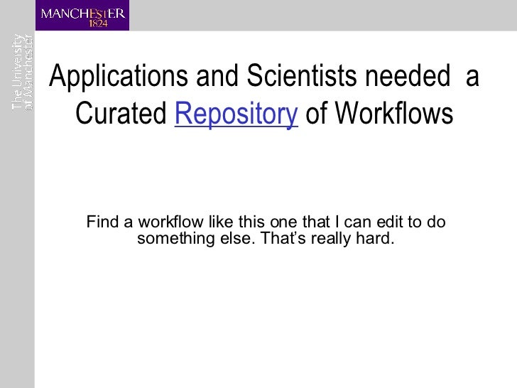 Applications and Scientists needed  a Curated  Repository  of Workflows Find a workflow like this one that I can edit to d...