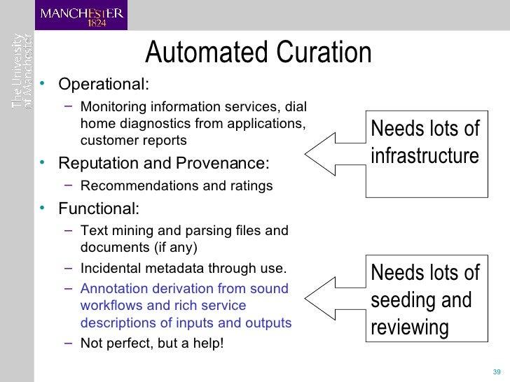 Automated Curation <ul><li>Operational:  </li></ul><ul><ul><li>Monitoring information services, dial home diagnostics from...