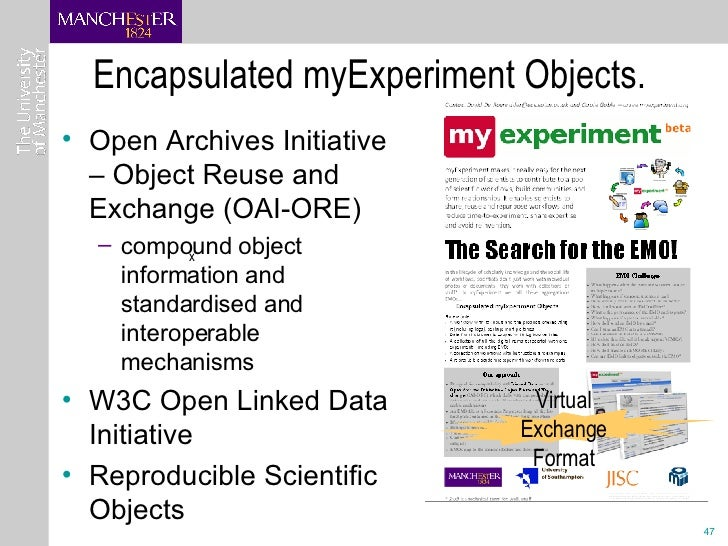 Encapsulated myExperiment Objects. <ul><li>Open Archives Initiative – Object Reuse and Exchange (OAI-ORE)  </li></ul><ul><...
