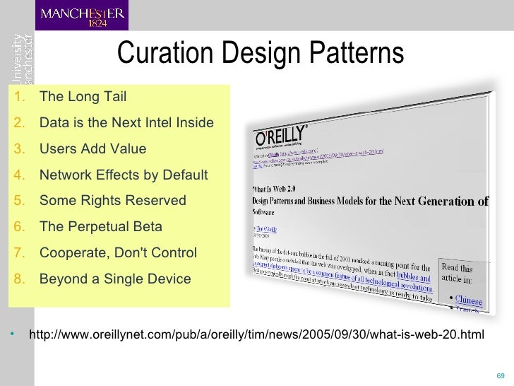 Curation Design Patterns <ul><li>http://www.oreillynet.com/pub/a/oreilly/tim/news/2005/09/30/what-is-web-20.html </li></ul...