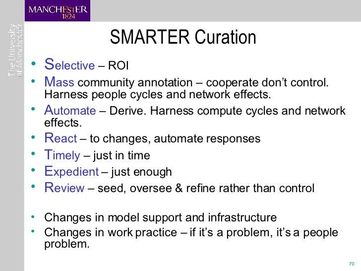 SMARTER Curation <ul><li>S elective  – ROI </li></ul><ul><li>M ass  community annotation – cooperate don't control. Harnes...