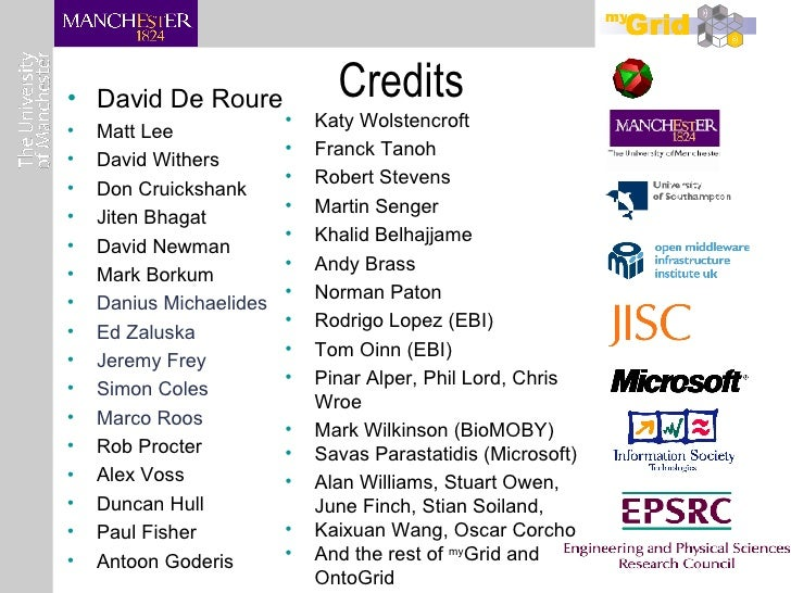 Credits <ul><li>David De Roure </li></ul><ul><li>Matt Lee </li></ul><ul><li>David Withers </li></ul><ul><li>Don Cruickshan...