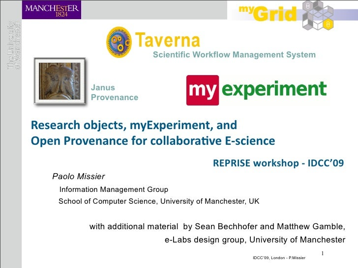 Scientific Workflow Management System                Janus              Provenance   Researchobjects,myExperiment,and ...