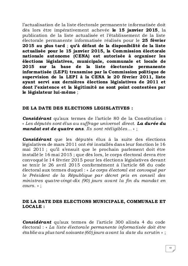 10 l'actualisation de la liste électorale permanente informatisée doit dès lors être impérativement achevée le 15 janvier ...