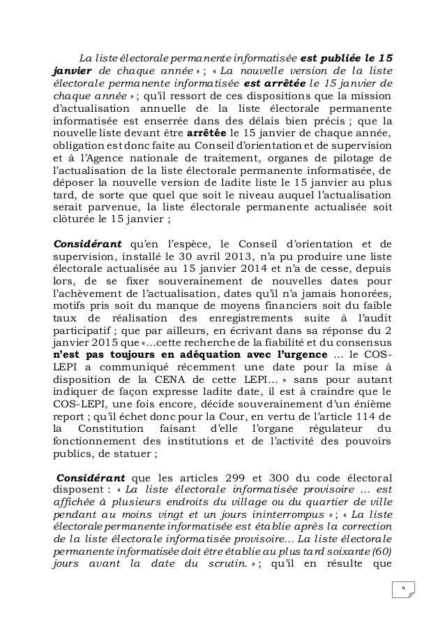 9 La liste électorale permanente informatisée est publiée le 15 janvier de chaque année » ; « La nouvelle version de la li...