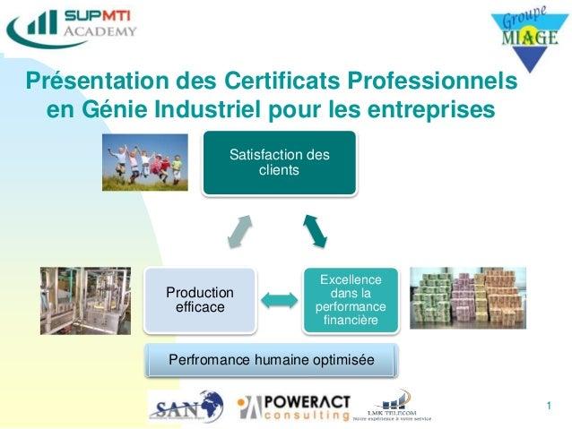 Présentation des Certificats Professionnels en Génie Industriel pour les entreprises 1 Satisfaction des clients Excellence...
