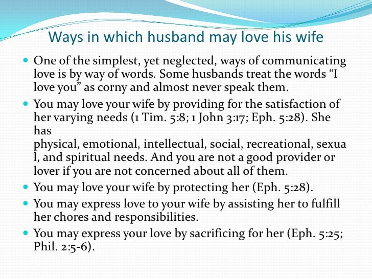 What is the role of a husband