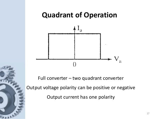 17 Quadrant of Operation Full converter – two quadrant converter Output voltage polarity can be positive or negative Outpu...