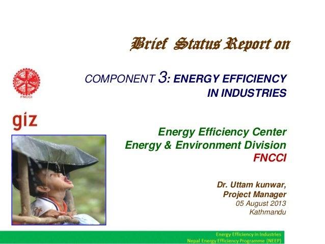 COMPONENT 3: ENERGY EFFICIENCY IN INDUSTRIES Energy Efficiency Center Energy & Environment Division FNCCI Dr. Uttam kunwar...