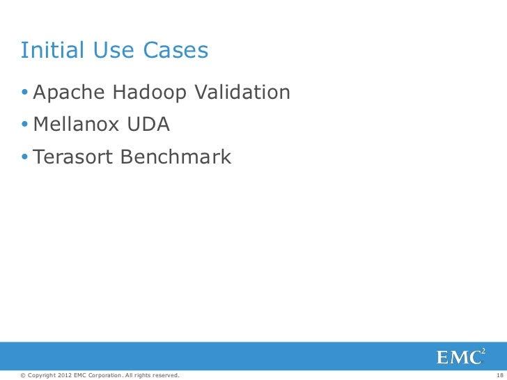 Initial Use Cases Apache Hadoop Validation Mellanox UDA Terasort Benchmark© Copyright 2012 EMC Corporation. All rights ...
