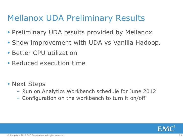 Mellanox UDA Preliminary Results Preliminary UDA results provided by Mellanox Show improvement with UDA vs Vanilla Hadoo...