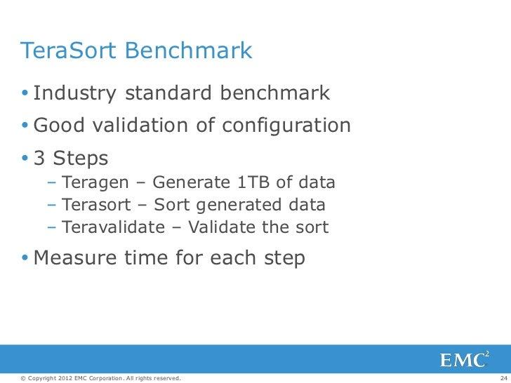 TeraSort Benchmark Industry standard benchmark Good validation of configuration 3 Steps        – Teragen – Generate 1TB...
