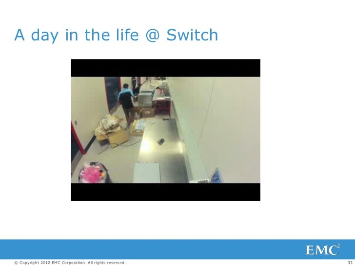 A day in the life @ Switch© Copyright 2012 EMC Corporation. All rights reserved.   33