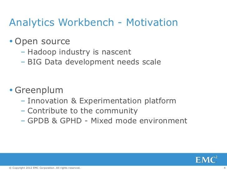 Analytics Workbench - Motivation Open source        – Hadoop industry is nascent        – BIG Data development needs scal...
