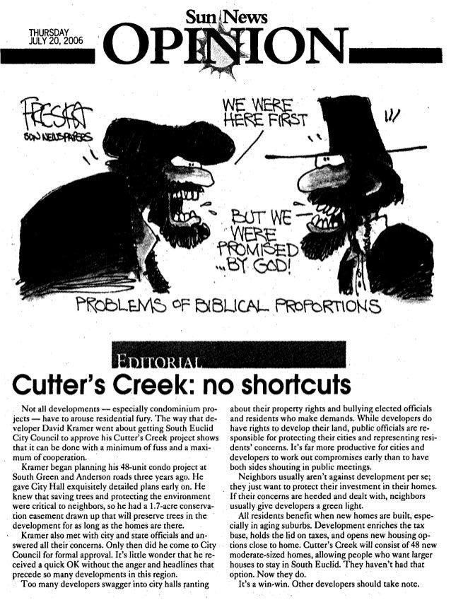 CUTTER'S CREEK - Sun Mes. EDITORIAL
