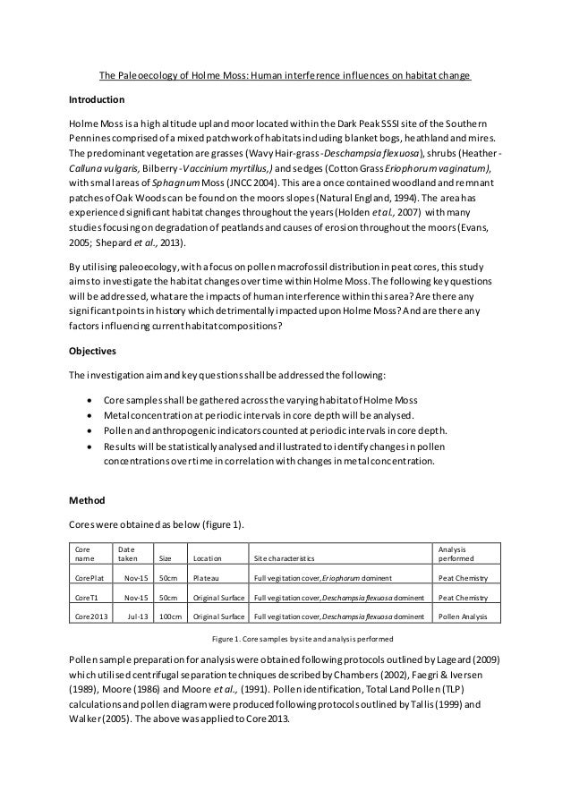 The Paleoecology of Holme Moss: Human interference influences on habitat change Introduction Holme Moss isa highaltitude u...