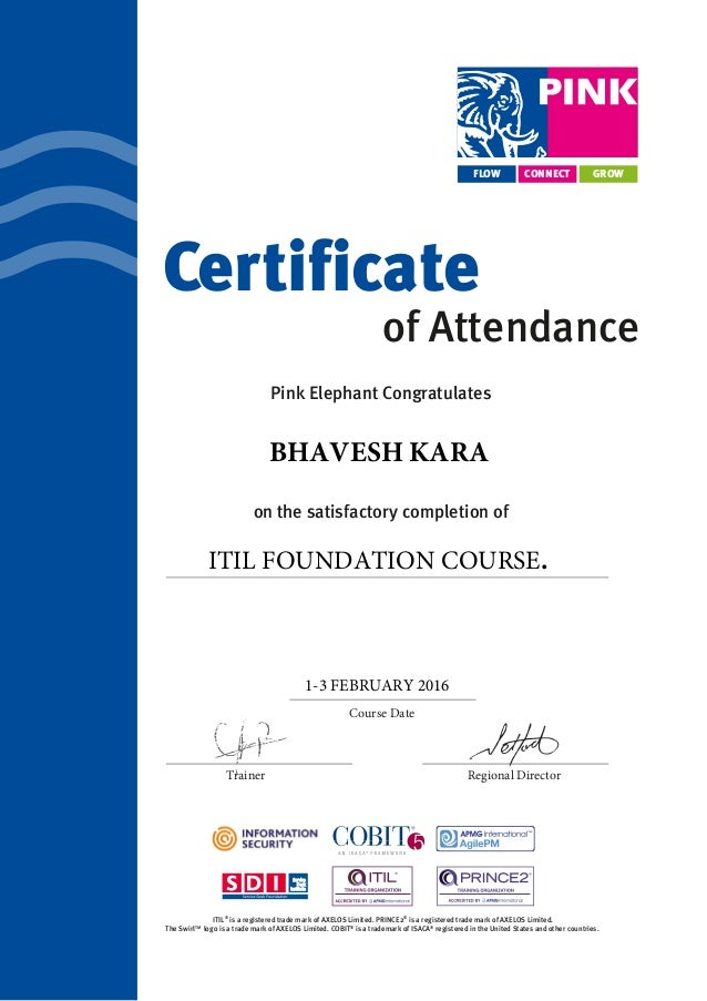 Itil Foundation Certificate Of Attendance
