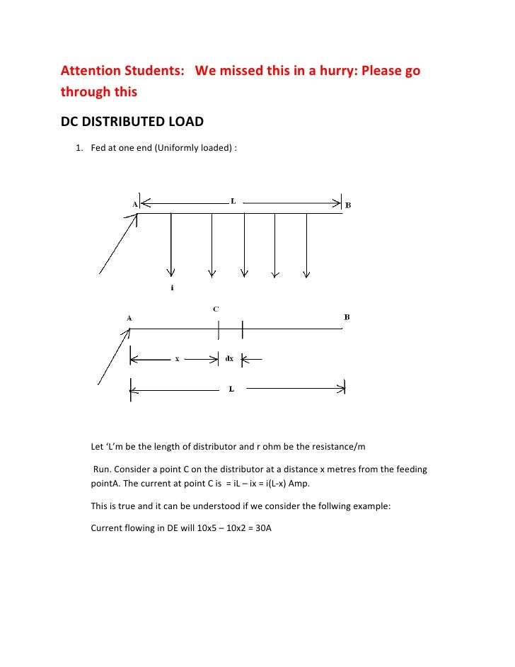 Attention Students: We missed this in a hurry: Please go through this DC DISTRIBUTED LOAD   1. Fed at one end (Uniformly l...