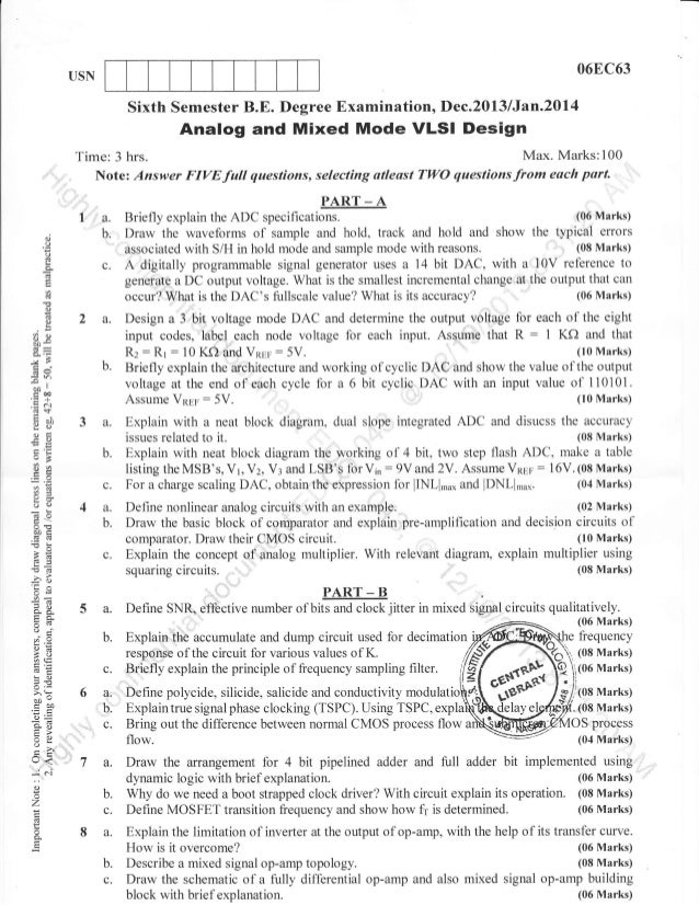 digital electronics ec64 vlsi design question paper Mumbai university question papers for electronics engineering - semester 8  cmos vlsi design  elective - ii: biomedical electronics.