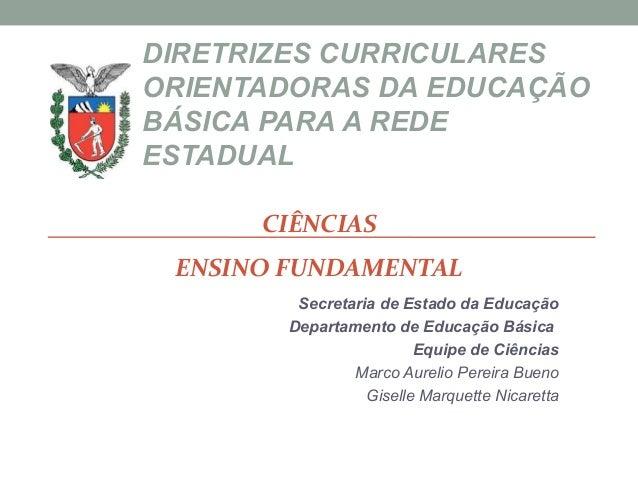 DIRETRIZES CURRICULARESORIENTADORAS DA EDUCAÇÃOBÁSICA PARA A REDEESTADUALSecretaria de Estado da EducaçãoDepartamento de E...