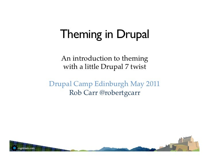 Theming in Drupal<br />An introduction to theming <br />with a little Drupal 7 twist<br />Drupal Camp Edinburgh May 2011<b...