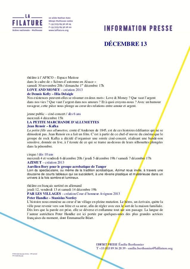 DÉCEMBRE 13  théâtre à l'AFSCO – Espace Matisse dans le cadre de « Scènes d'automne en Alsace » samedi 30 novembre 20h / d...